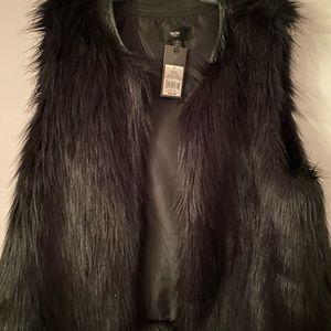 Faux fur vest - black